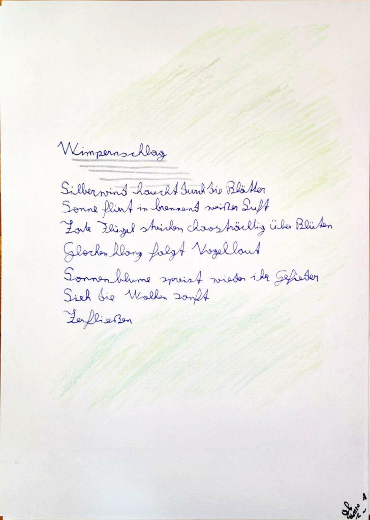 #39Plus3Poems - Wimpernschlag handschriftlich