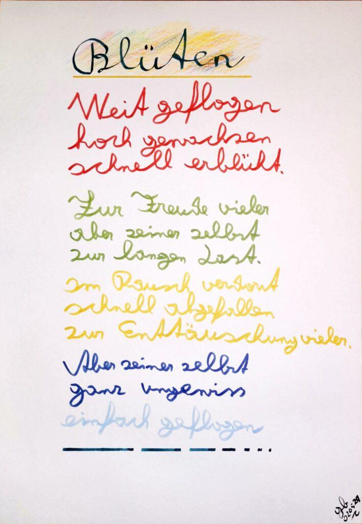 #39Plus3Poems - Blüten - handschriftlich
