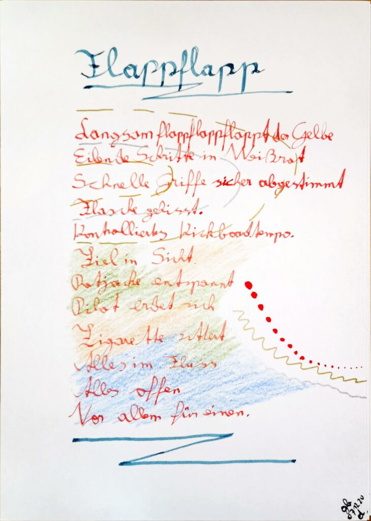 #39Plus3Poems - Flappflapp handgeschrieben