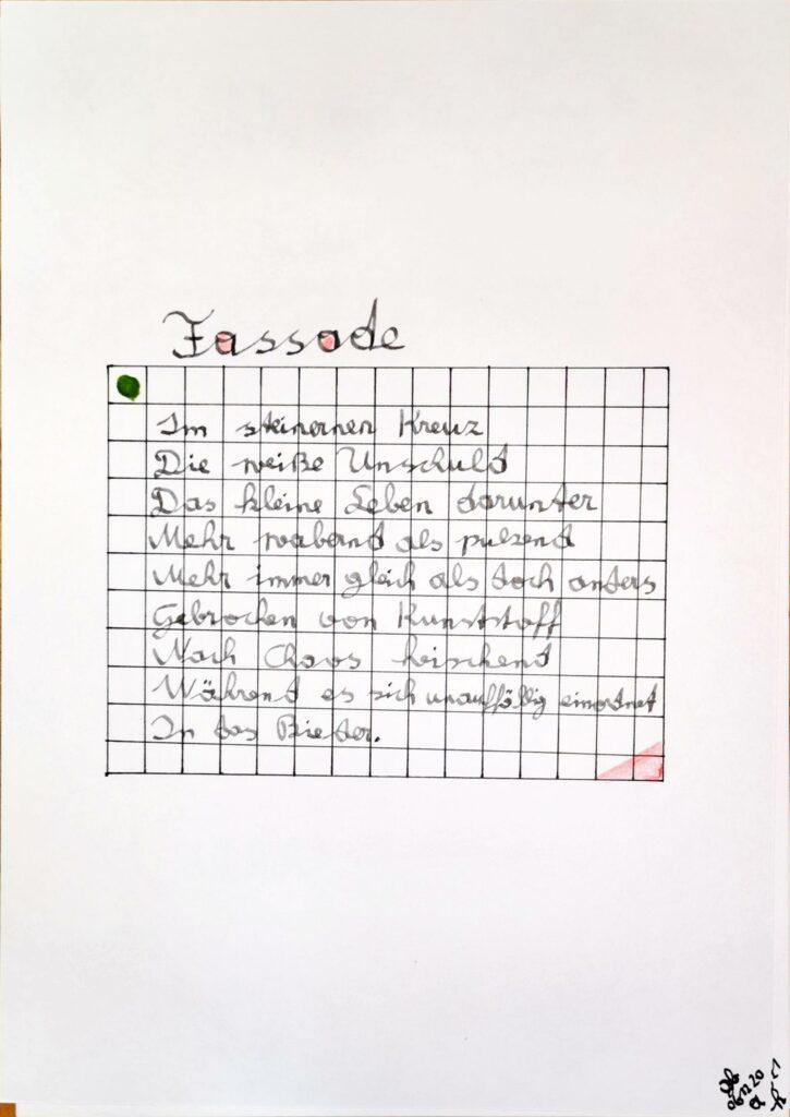 #39Plus3Poems - Fassade handschriftlich