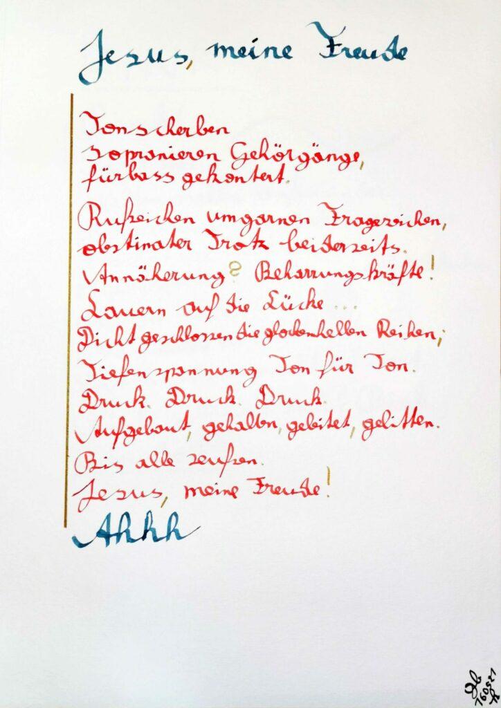 #39Plus3Poems - Jesus, meine Freude - handschriftlich