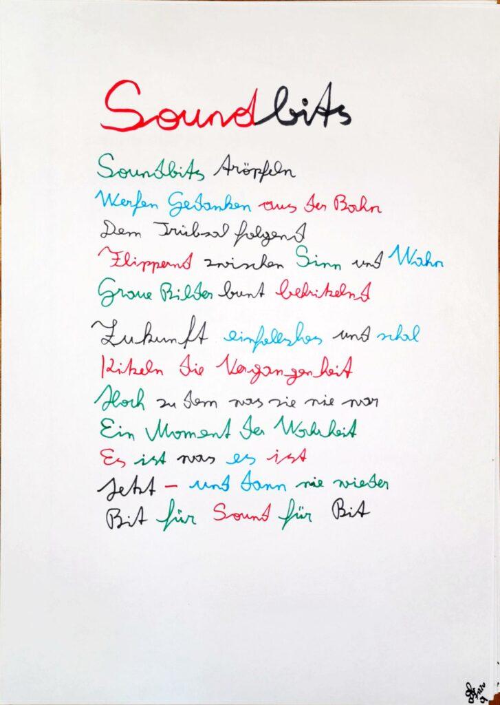 #39Plus3Poems - Soundbits - handschriftlich