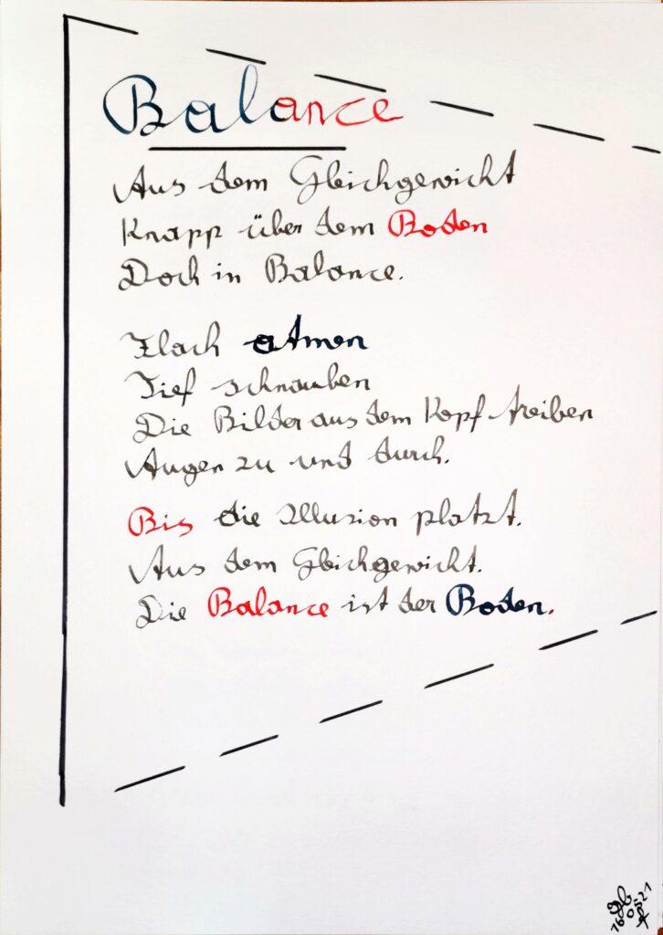#39Plus3Poems - Balance - handschriftlich