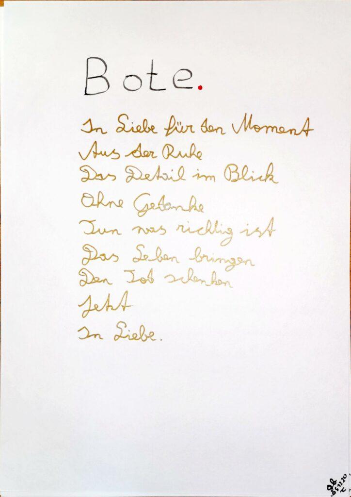 #39Plus3Poems - Bote - handschriftlich