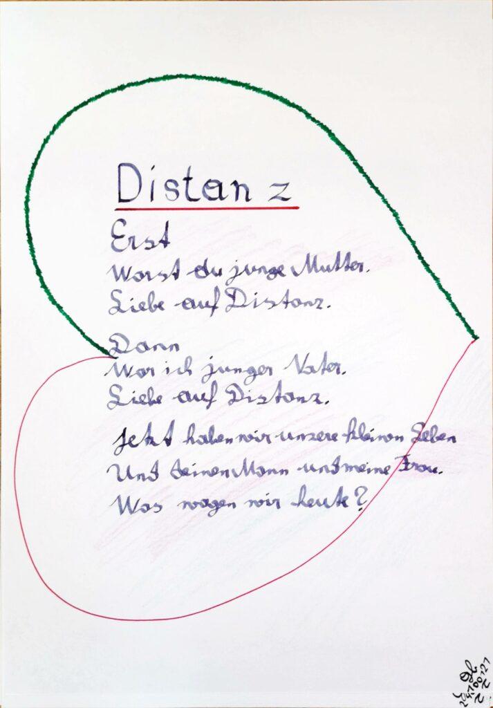 #39Plus3Poems - Distanz - handschriftlich