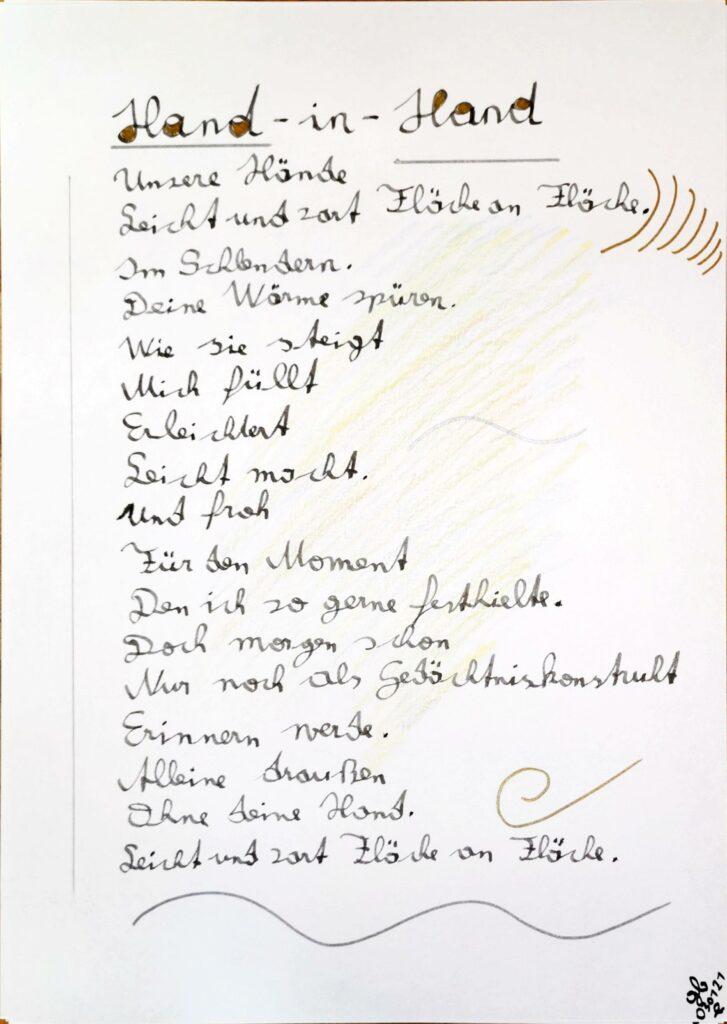 #39Plus3Poems - Hand in Hand - handschriftlich