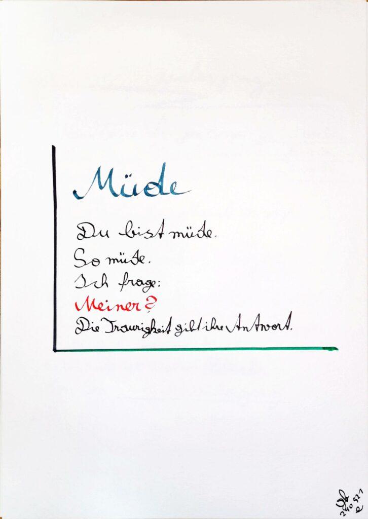 #39Plus3Poems - Müde - handschriftlich