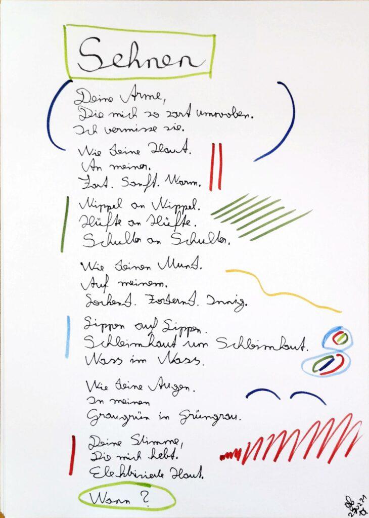 #39Plus3Poems - Sehnen - handschriftlich