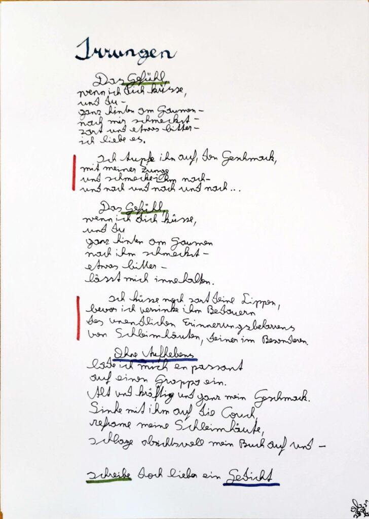 #39Plus3Poems - Irungen - handschriftlich