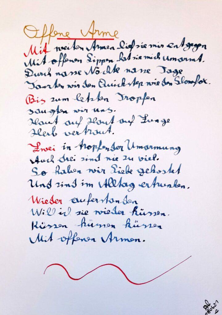 #39Plus3Poems - Offene Arme - handschriftlich