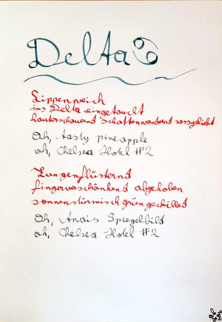 #39Plus3Poems - Delta - handschrifltich