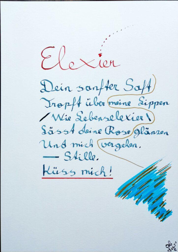 #39Plus3Poems - Elexier - handschriftlich