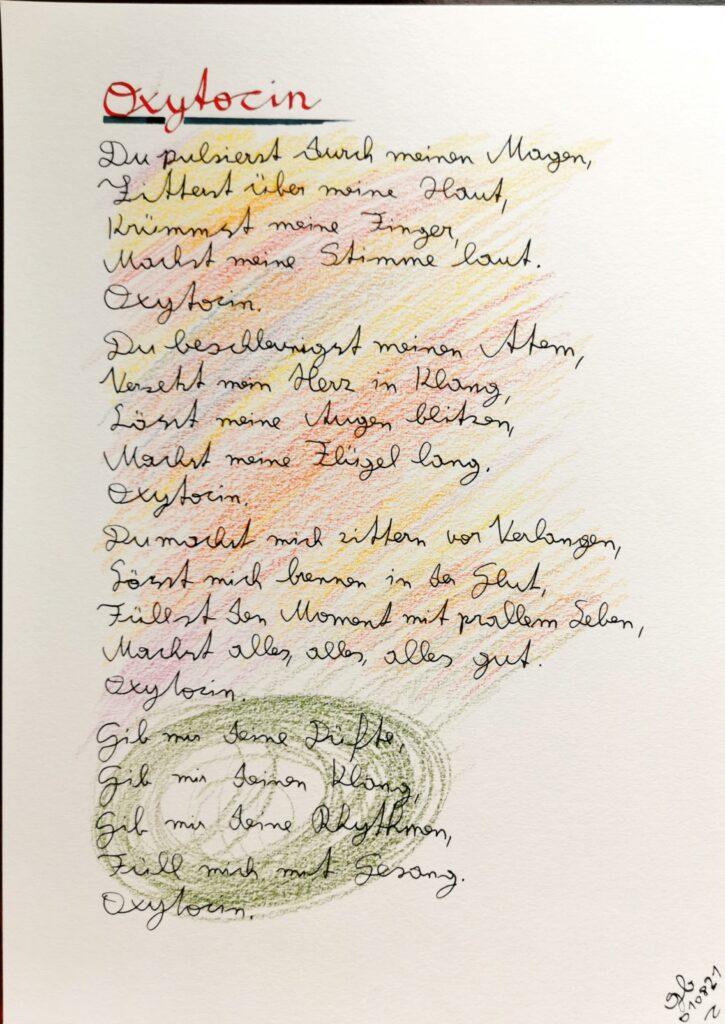 #39Plus3Poems - Oxytocin - handschriftlich