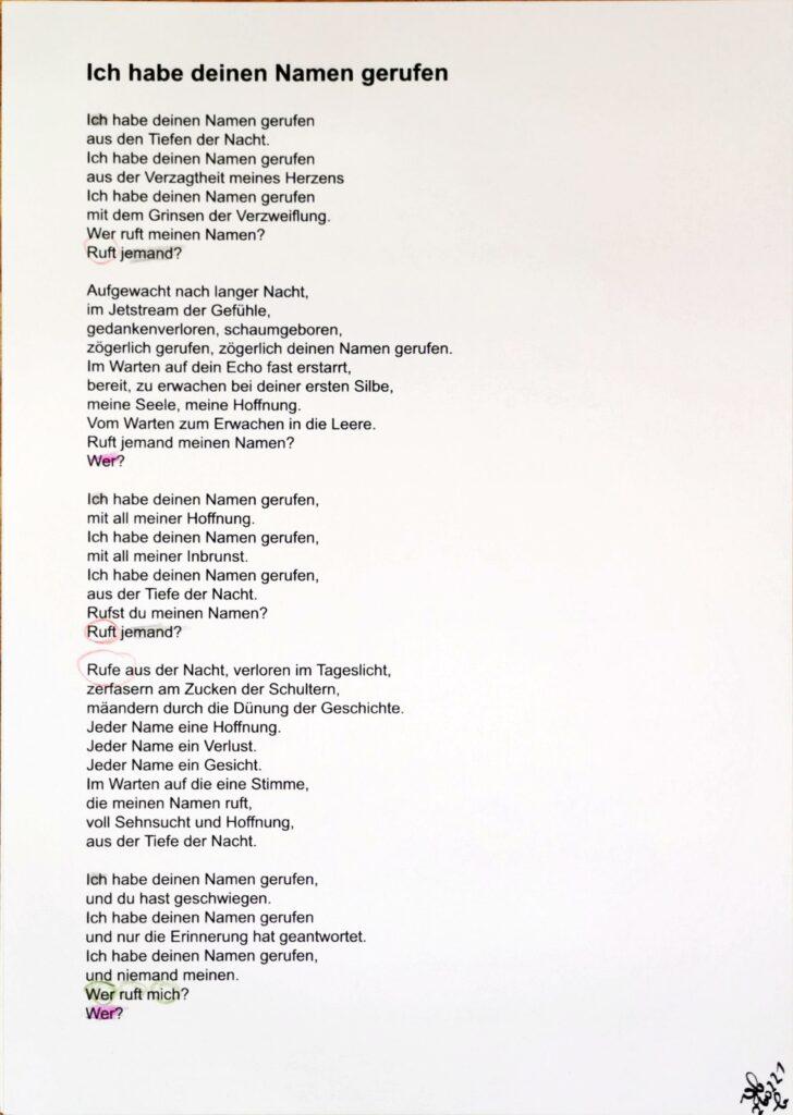 #39Plus3Poems - Ich habe deinen Namen gerufen - handschriftlich